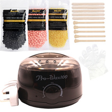Film Wax Heater Kit Natural Pearl Wax Depilatory Cream Hair Removal Wooden Spatula Tool Black Epilator Hard Bean Wax