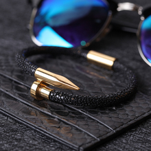 men bracelet Stingray leather Stainless steel nail gentleman luxury bracelet for men Stingray bracelets bangles Gifts jewelry цена 2017