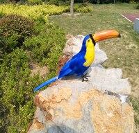 Large 42cm Feathers Toucan Artificial Bird Blue Or Black Toucan Model Handicraft Prop Home Garden Decoration