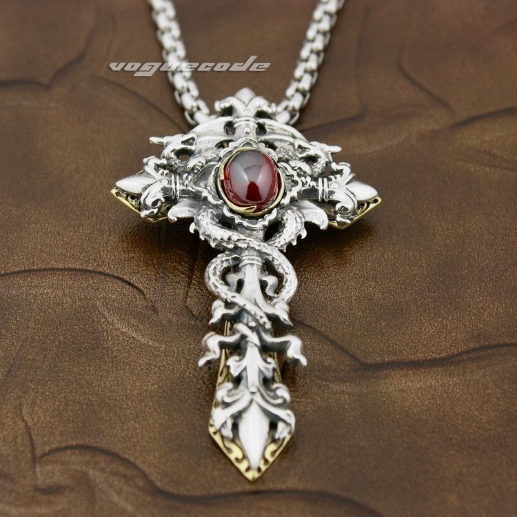 925 Sterling Silver Dragon Twine Brass Cross Sword Red CZ Mens Pendant 8X003(Necklace 24inch) цены онлайн