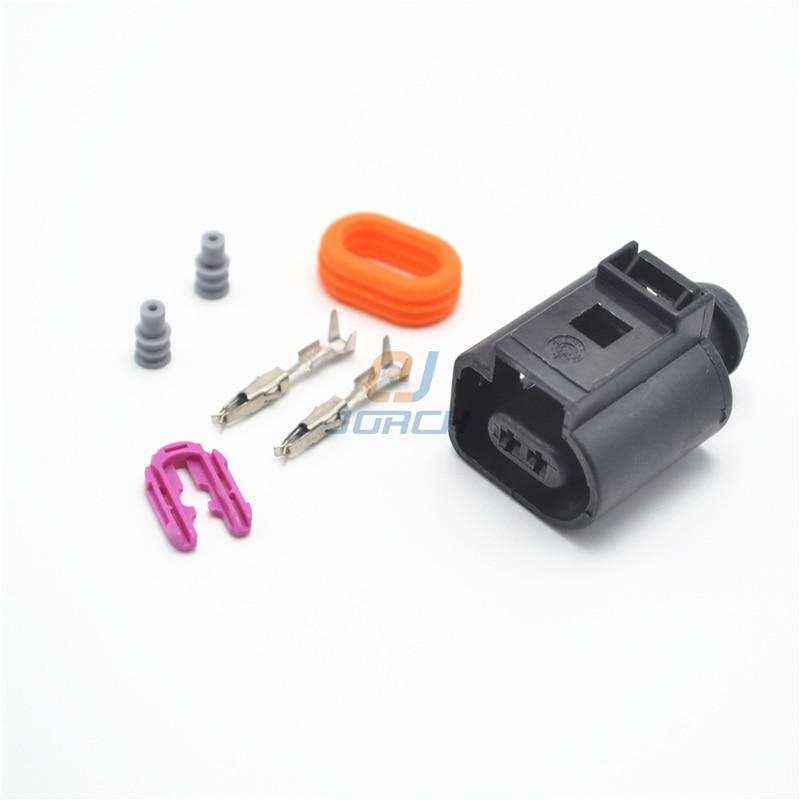 10 Kits Super sealed automotive VW electrical horn plug connector 1.5 series plug 1J0973702 2 sets 2pin 3 5mm car connector fog lamp plug horn electrical connector kits for audi vw car ect