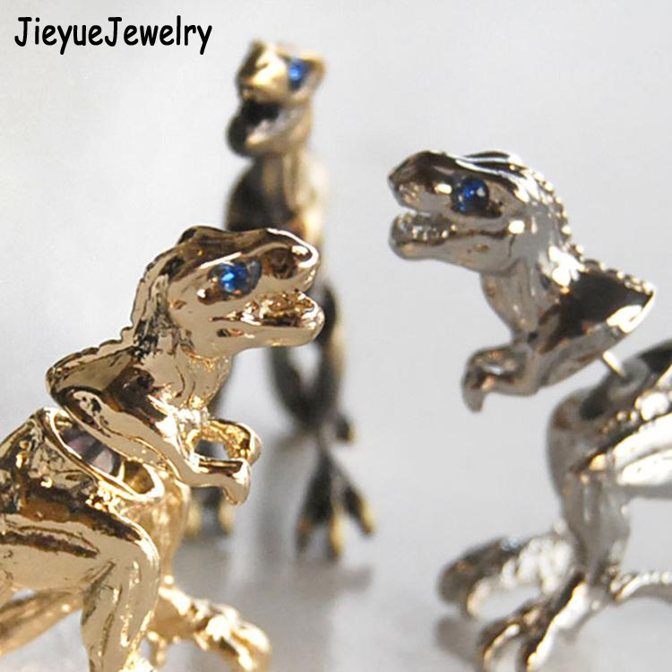 Fine Jewelry Drop Shipping 1pc New Cool Tyrannosaurus Design Ear Stud Women Men Piercing Earring Multi-Colored Alloy