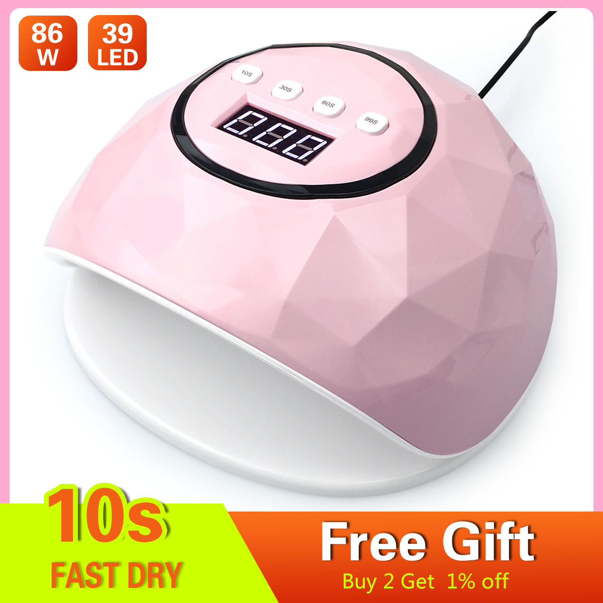 86W UV LED Lamp 39 Leds Nail Dryer For Curing UV Gel Nail Polish With Sensor Nail Art Machine Manicure Tool