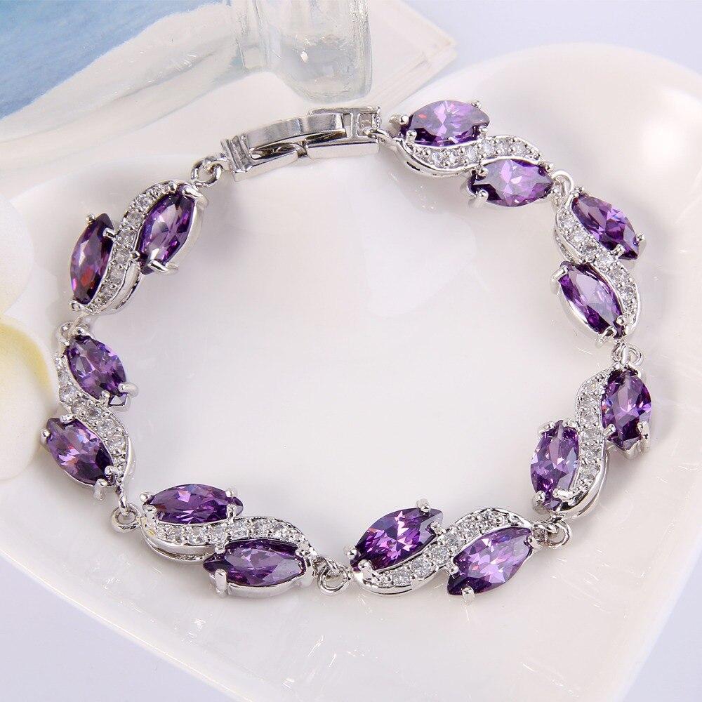 Bella Fashion Luxury Bridal Bracelet Cubic Zircon Tennis Bracelet for Women Wedding Party Jewelry Blue/Purple/Pink Silver Plated