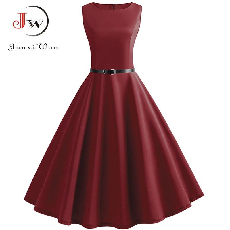 Красное платье с открытыми руками, элегантные офисные вечерние платье Для женщин летние Повседневное миди платье 50-х 60-х Винтаж роковой рок...