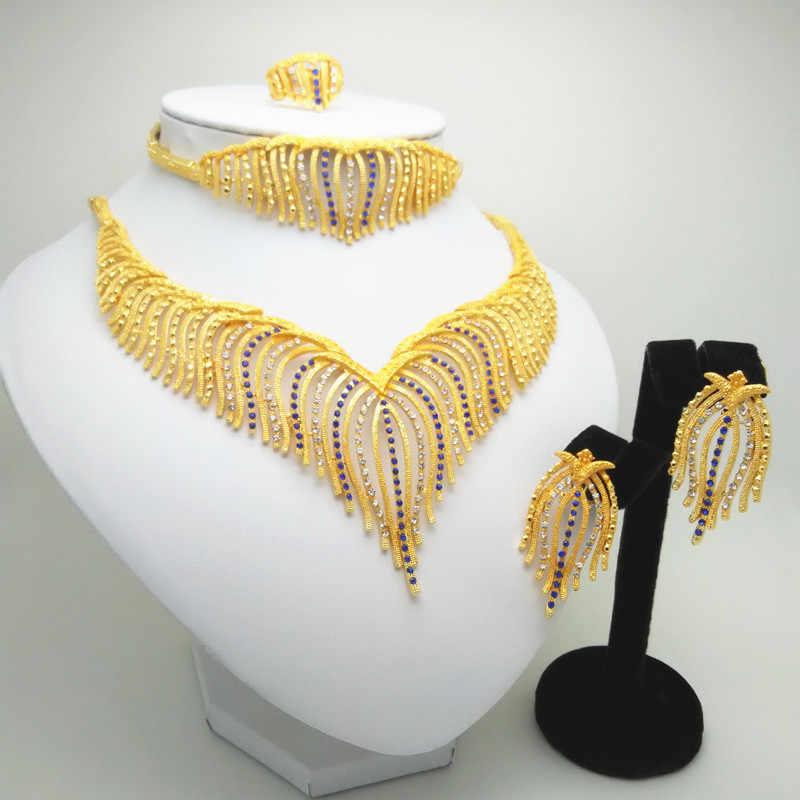 Новый Эфиопский Большой Свадебные украшения для невесты комплекты 24 K Gold Цвет Цепочки и ожерелья/серьги/кулон/браслет/кольцо Свадебные в эритрейском стиле подарки