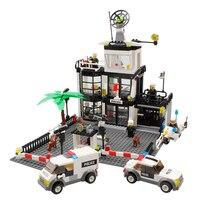 KAZI 631Pcs City Police Station Building Blocks Action Figure Baby Toys For Children Building Bricks Brinquedos