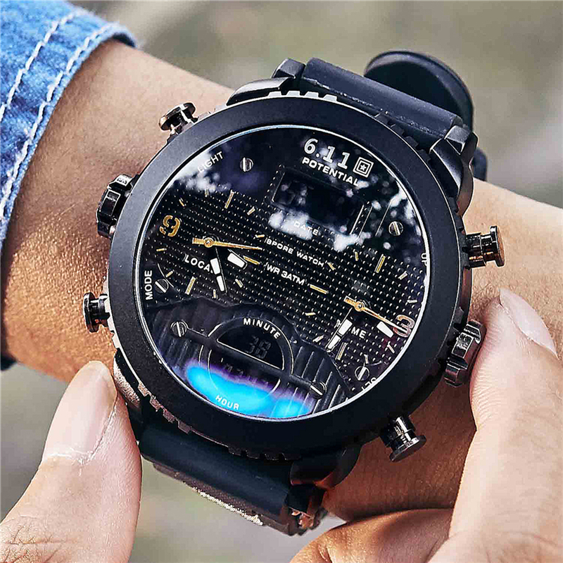 6.11 New Big Mens Watch Sport Quartz Men Wristwatches Quartz Black Led Digital Sport Watch Men Relogio Masculino потолочный светодиодный светильник eglo fueva c 96672