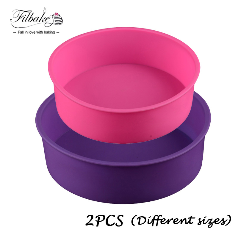 FILBAKE 2PCS Different Sizes Round Silicone Mold 2 Layers Cake Pan Baking For Birthday Dessert