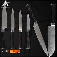 Дамаск ножи японский VG10 Дамасская сталь цвет деревянной ручкой кухонные ножи 6 шт. Семейный комплект обычно используется кухонная утварь