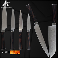 Damascus knives Japanese VG10 damascus steel color wood handle kitchen knives 6 pieces set family commonly used cooking tools