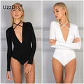 Новый Повседневная Тела Блузка Рубашки Женщины Моды Bodycon Повязку V-образным Вырезом Топ Черный Белый Длинный Рукав Боди Зашнуровать Сексуальные Блузки
