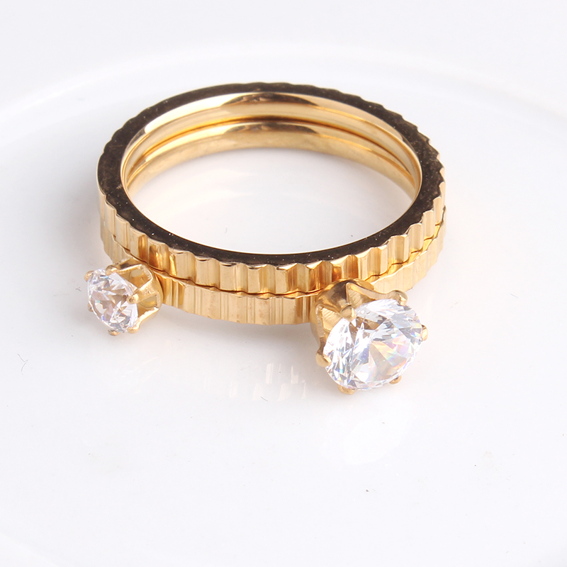 Gold Color Double Zircon Gear Couple 316L Stainless Steel Wedding Rings For Men Women Wholesale