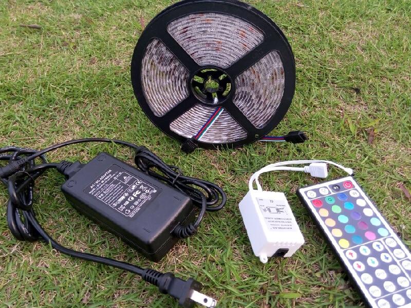 5m 12V Waterproof IP65 RGB LED Strip Light Bulb SMD 5050 Chip Multi color 72W 44 Keys Remote Controller 6A Power Supply Adapter dxg 004 72w waterproof 3600lm rgb 300 smd 5050 led strip light white black 5m 12v