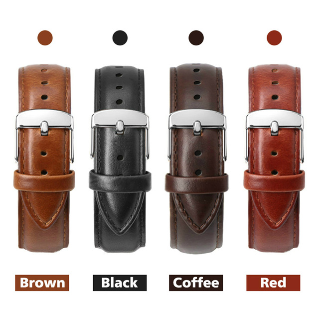 2018 New Watch Band Leather Watchband Men Women 22mm 20mm 18mm 16mm 14mm 12mm St