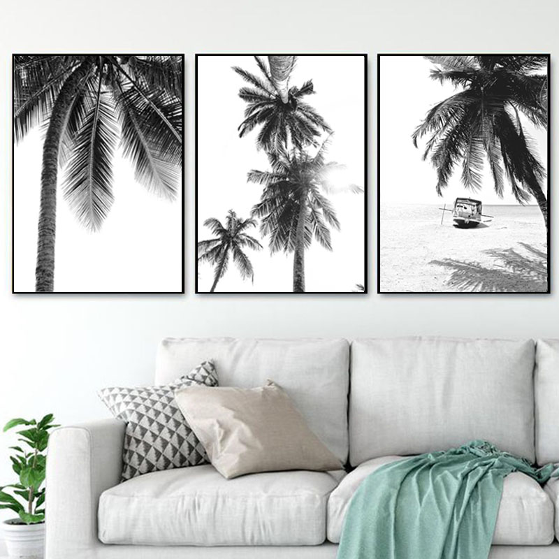 Nordic Tropical Palm Tree Canvas Painting Black White Beach Poster Print Landscape Wall Art Picture for Living Room Home Decor(China)