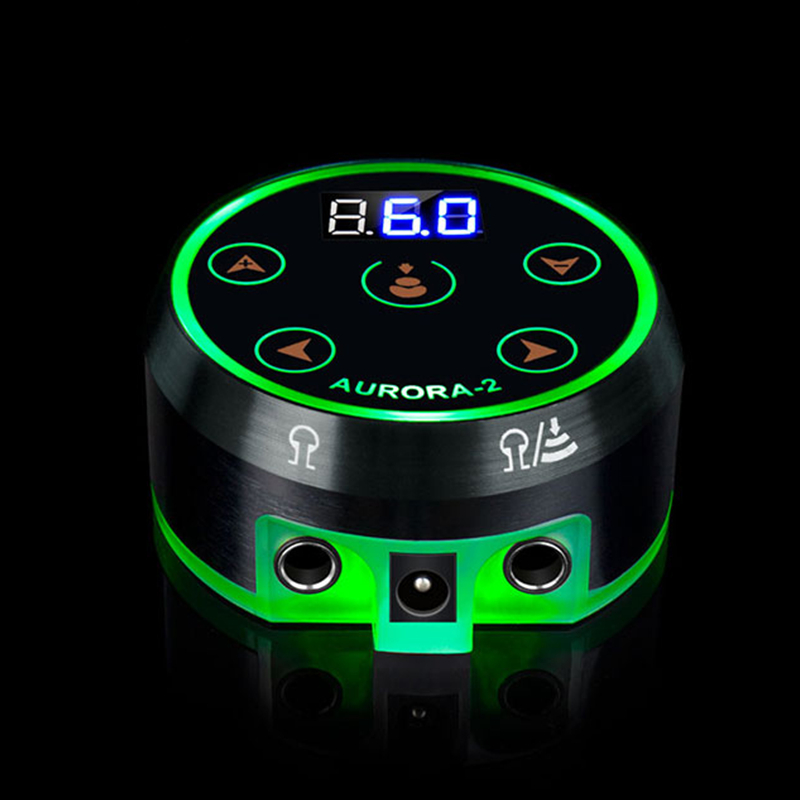 EZ Novo AURORA II LCD Poder Tatuagem de Alimentação para Máquina de Tatuagem Rotativo 2 Pedal Modo Preto Prata 1 pçs/lote - 2