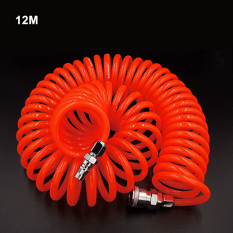 pneumatic spring pipe PU air hose high pressure hose with quick couple 12M 8X5mm color random to ship high quality 15mt pneumatic hose with 5 8 quick couplin spring trachea quick coupler air toube page 2