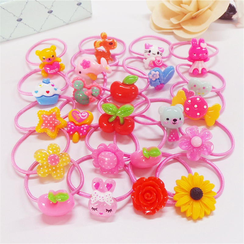 2017 New Arrival 10Pcs Korean Bow Headband Pink Girls Flower Elastic Hair Bands Hair Accessories Rubber Rope Ties Princess Gift m mism new arrival korean style girls hair elastics big bow dot flora ponytail rubber hair rope hair accessories scrunchy women