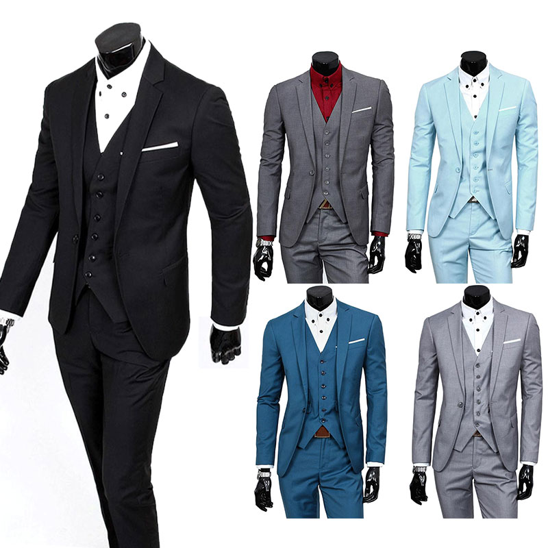 Fashion Men's Slim Suit Champagne Party Tuxedo Men 3 Piece Suits Groom Wedding Costumes Casual BlazersFS99