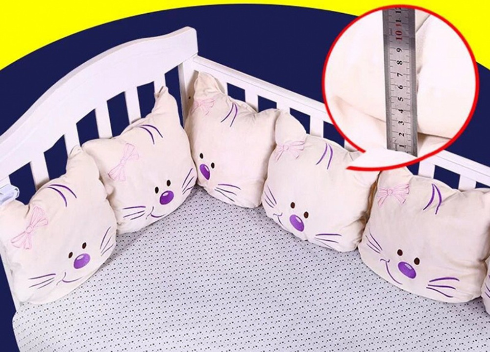 Cute Cat Baby Bed Bumper Soft Plush Infant Baby Bed Around Protection Bumper Backrest Cushion Crib Bumper For Boys Girls 1pcs bumper only fashion hot crib bumper infant bed baby bed bumper grey stars safe protection for baby use infant cradle guard