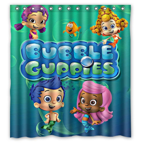 "hot!new fashion deco bubble guppies bathroom shower curtain 66"" x"