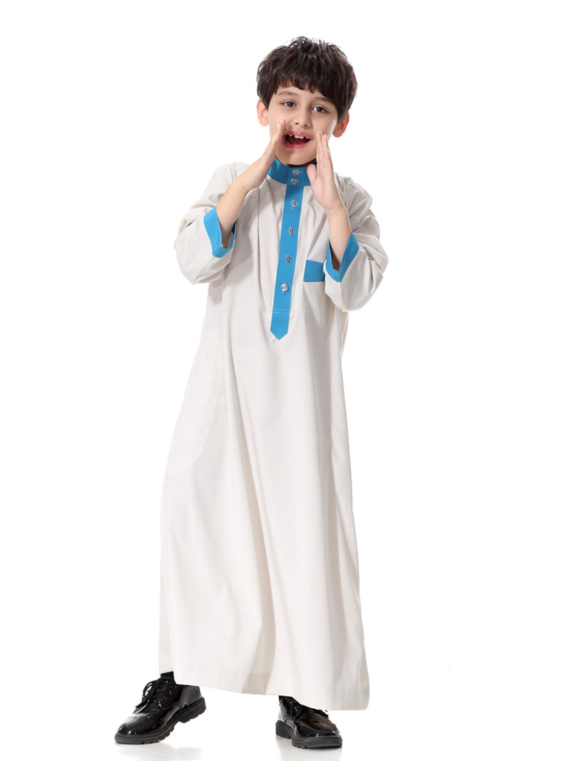 Children abaya White arab robe clothing muslim men islamic jubba muslim kid dress BTH873 in Islamic Clothing from Novelty Special Use
