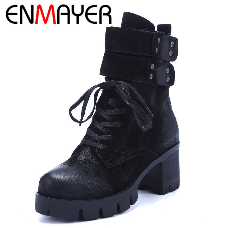ФОТО ENMAYER Hoop&Loop Ankle Boots for Women Zip Lace-up Platform Shoes Woman Autumn/Winter Boots Shoes Black Brown Fashion Leisure