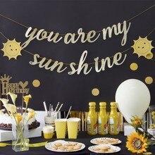 1pc/set Glitter Gold You Are My Sunshine Hanging Banner Birthday Decorations Wedding Anniversary Decoration Kids Room