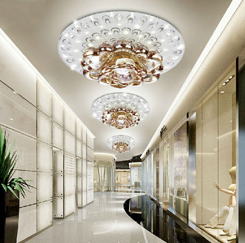 creative LED Crystal ceiling lamp for Corridor living room Bedroom crystal Downlight LED spotlight modern style lighting fixture modern multicolour crystal ceiling lights for living room luminarias led crystal ceiling lamp fixtures for bedroom e14 lighting