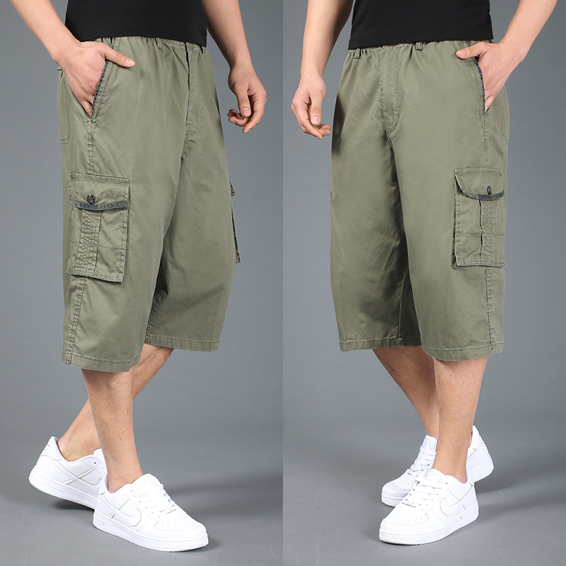 Free shipping summer plus size men shorts xxl 4xl 5xl 6xl cotton casual shorts khaki elastic waist short trousers hiphop