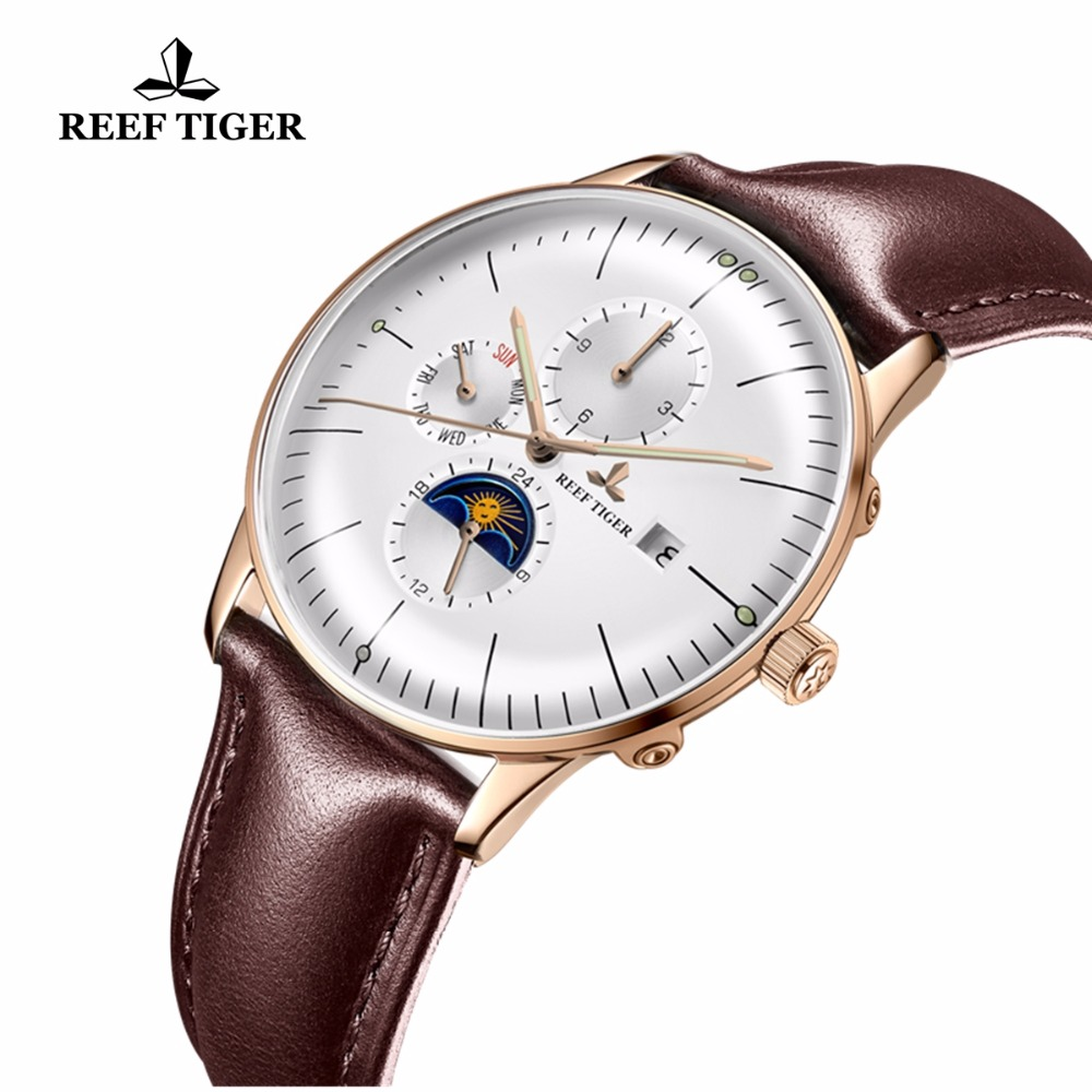 Reef Tiger/RT Fashion Casual Watches Water Resistant Date Day Rose Gold Brown Leather Strap Automatic Watches For Men RGA1653