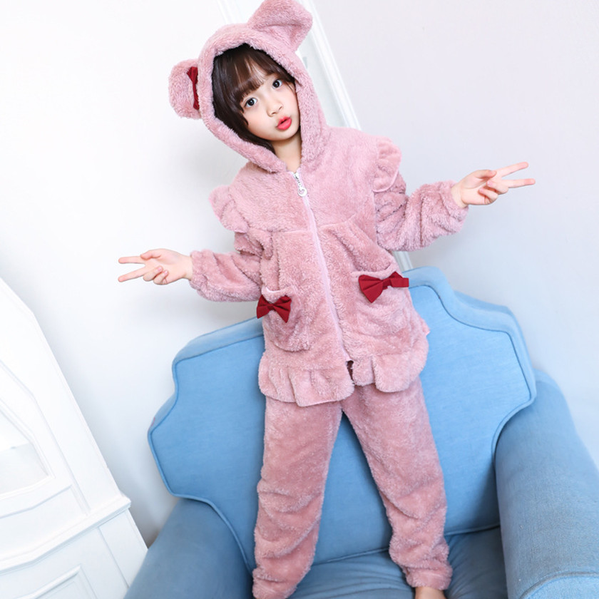 Cute 2018 Fashion Winter Baby Girl Fluffy Long Sleeves Zipper Tops+Pants 2Pcs Pajamas Outfits Sets Chidren Clothes Pink S85121A