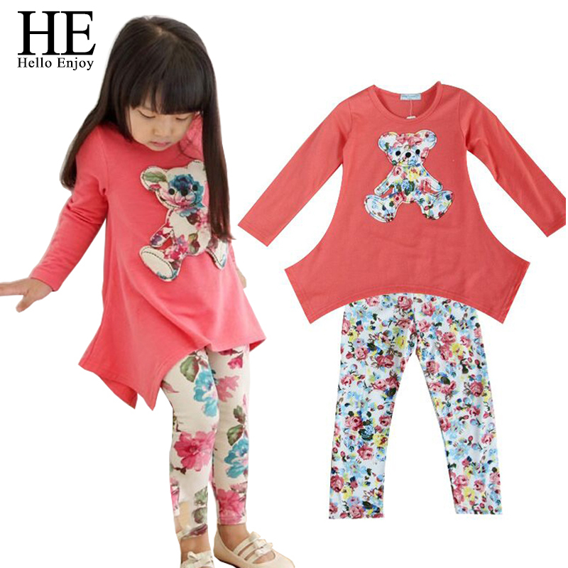 HE Hello Enjoy girls clothes autumn 2017 Casual clothes baby girl dress T-shirt + Flower Legging Clothing Set children clothing he hello enjoy girls clothes dress spring autumn kids dresses for girls long sleeve denim shirt bow suits children clothing set