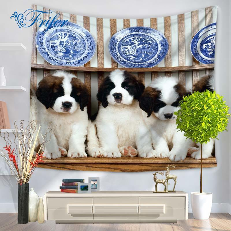 Lovely Cat Dog Printed Wall Hanging Pattern Drap Mural Tapestry Sitting Carpet Home Decorative Wall Hanging Carpet Tapestries