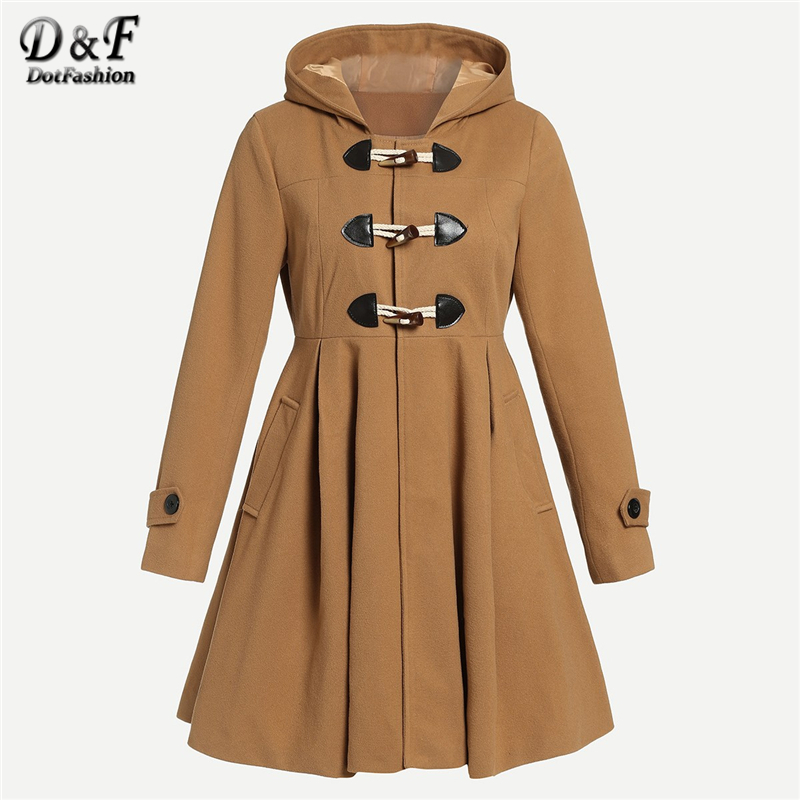 e4169604c3e Dotfashion Camel Flared Hem Hooded Duffle Coat Women 2019 Autumn Casual  Long Korean Winter Coats For Woman Long Sleeve Outerwear-in Wool   Blends  from ...