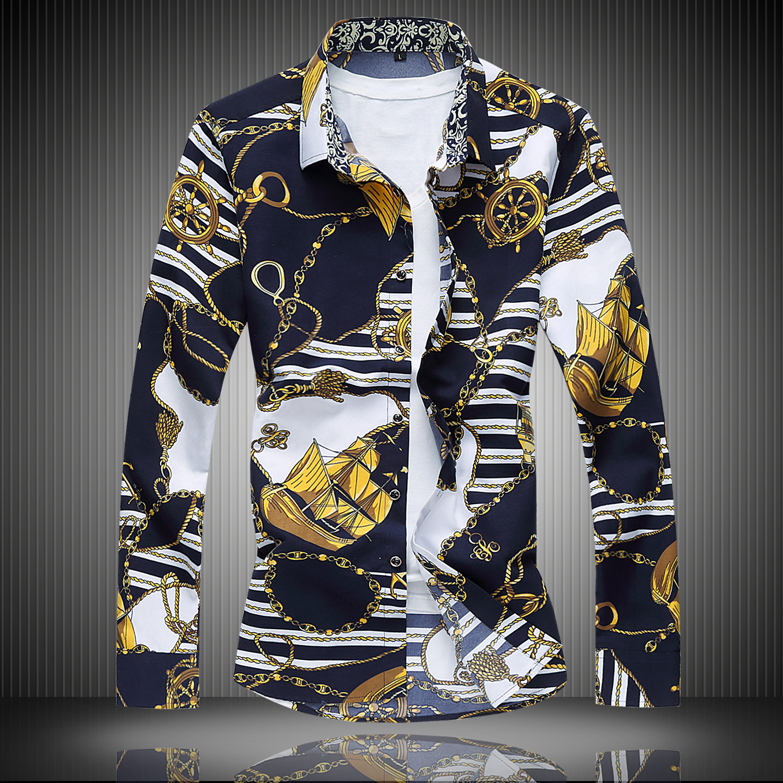 Mens long-sleeved floral shirt , Nightclub Men s Nightclubs Tide Men s Long Sleeve Blouse Large size men business shirt