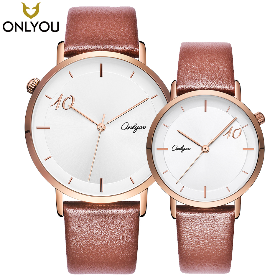 ONLYOU Lover Watches Double Ten Perfection Men Fashion Leather Quartz Clock Women Casual Wristwatch Couple Unique Gift Watch onlyou lover watches couple fashion unique wristwatch chinese style valentine s day present gift women caual quartz clock