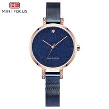 MINIFOCUS Women Watch 2018 New Starry Sky Fashion Dress Wristwatch Ladies Business Quartz Clock Blue Luxury Girls Bracelet