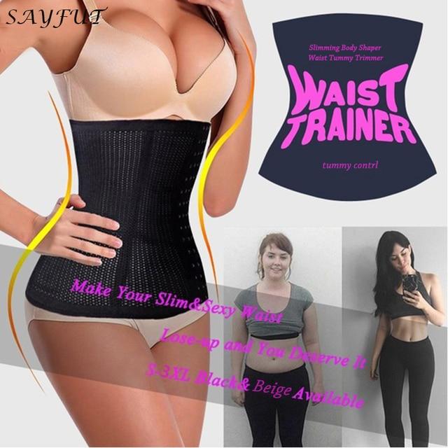 5ed65c03e54a7 Black Beige Fat Burning Girdle Belt Sexy Women Body Waist Trainer Weight  Loss Faja Shapewear Size S-3XL Tummy Control Trimmer