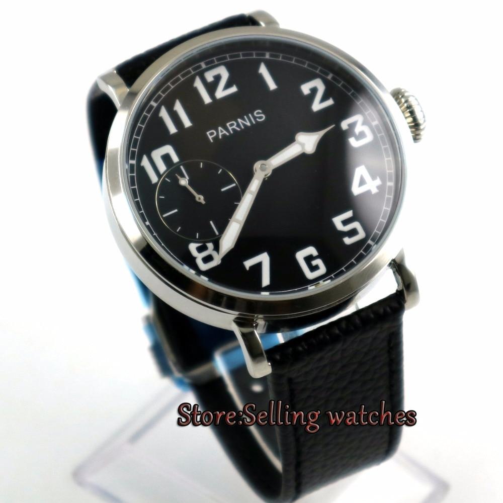 46mm parnis cadran noir lumineux 6497 remontage à la main bracelet en cuir montre hommes P2-in Montres mécaniques from Montres    1