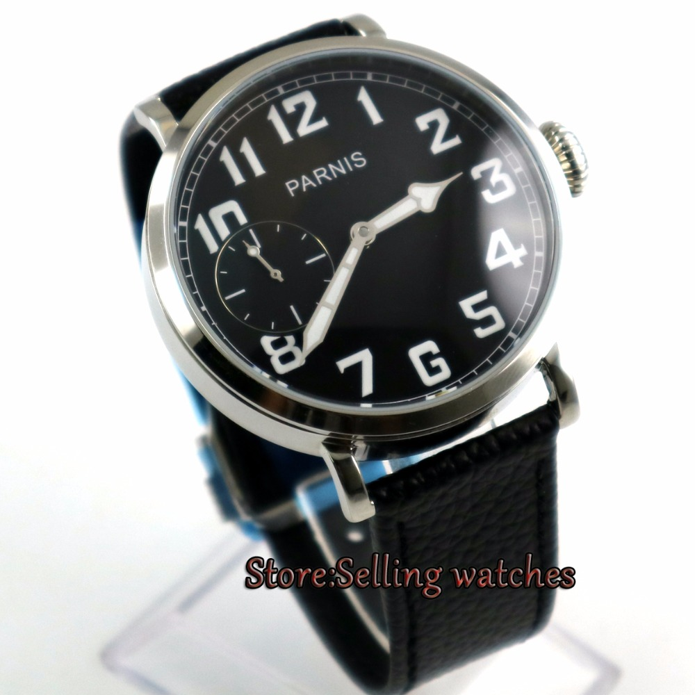 46mm parnis luminous black dial 6497 hand winding leather strap mens watch P246mm parnis luminous black dial 6497 hand winding leather strap mens watch P2