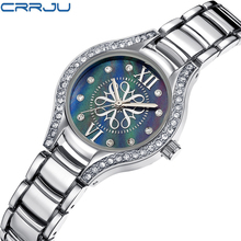 CRRJU 2017 Venda Quente de Luxo Senhoras Relógio de Cristal De Prata Diamante Women Watch Vestido de Pulso De Quartzo Populares Clássico Negócios Hora