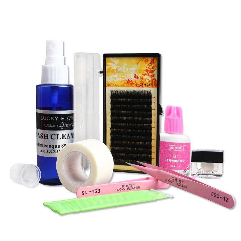 10 PCS False Eyelash Extension Kit Makeup Set With Cleaning Fluid Tweezers Eyelash Brush Professional Eyebrow Make Up Set ombre handle eyebrow tweezers