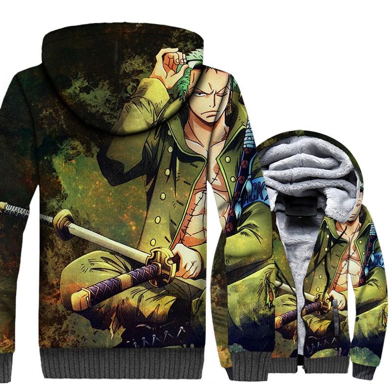 Anime Cool Zoro Jacket Men One Piece 3D Hoodies Ninja Sweatshirts Winter Fleece Harajuku The Pirate King Coat Hipster Streetwear
