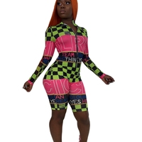Checkered Bandage Bodysuit For Women Plaid Letter Printed Bodycon Jumpsuits Sexy One Piece Rompers Shorts Motorcycle Wear Zipper