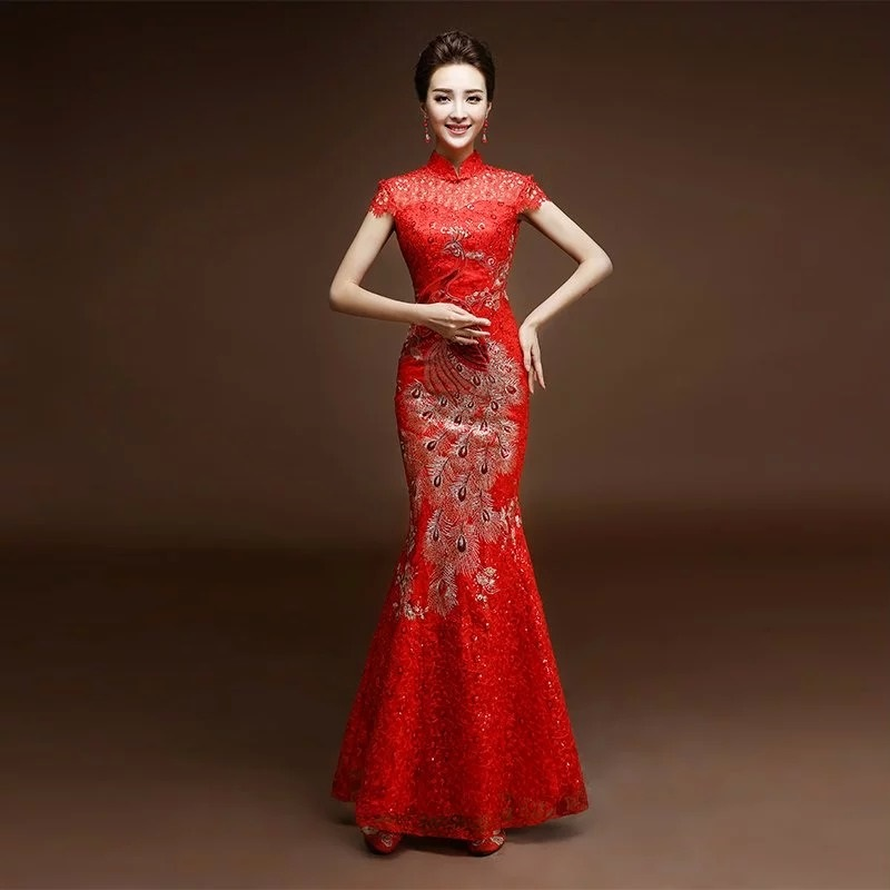 China tradición phoenix bordado de encaje rojo lentejuelas cheongsam - Ropa nacional
