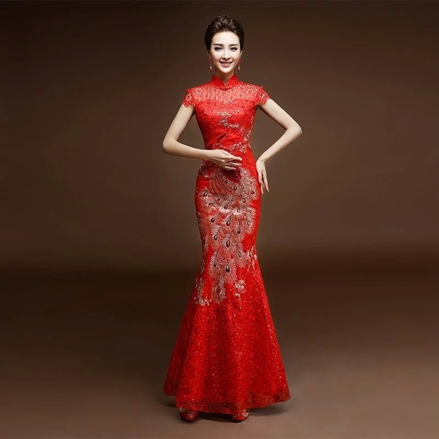 china tradition phoenix embroidery red lace sequin cheongsam dresses elegant beautiful formal dinner party long fishtail custom