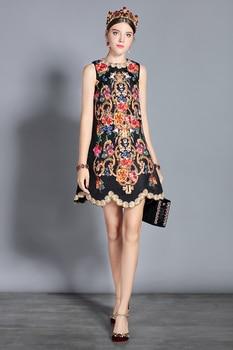 Mini vestido vintage estampado retro apliques