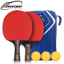 Best Quality Table Tennis Racket With Rubber Pingpong Paddle +Balls Short Handle Tennis Table Racket Long Handle Offensive(China)